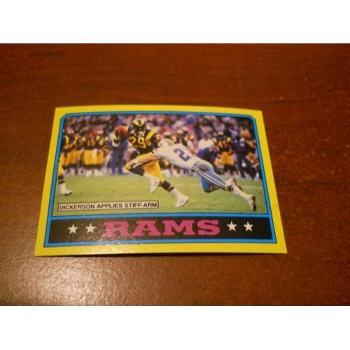 1986 Topps Football Card 76 Los Angeles Rams Team Eric Dickerson SMU