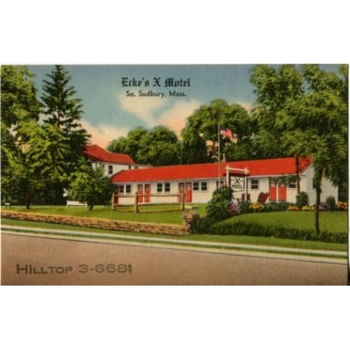 Linen Postcard. Ecke's X Motel, So. Sudbury, Mass.