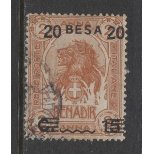1923 Italian colonies SOMALIA  20 Besa on 15 c. on 2 a.  Lion  used, Scott # 46