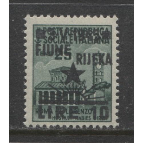 1945  YUGOSLAVIA  Italian occupation Fiume  1 Lire on 25 c. mint**,  Michel # 31