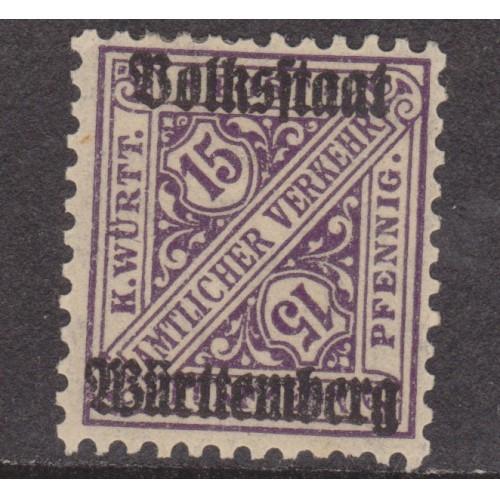 UNUSED WURTTEMBERG (GERMAN STATE) #O155 (1919)