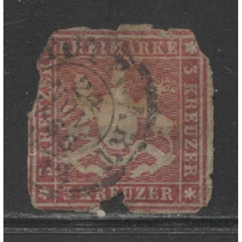 1865 German States  WURTTEMBERG   3 Kreuzer  Cote of Arms used,  Scott # 42