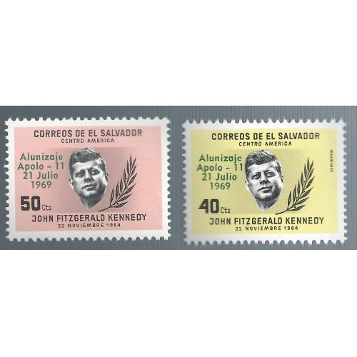 EL SALVADOR UNUSED (2) STAMPS  1964 W /APOLLO 11 OVERPRINT  G67