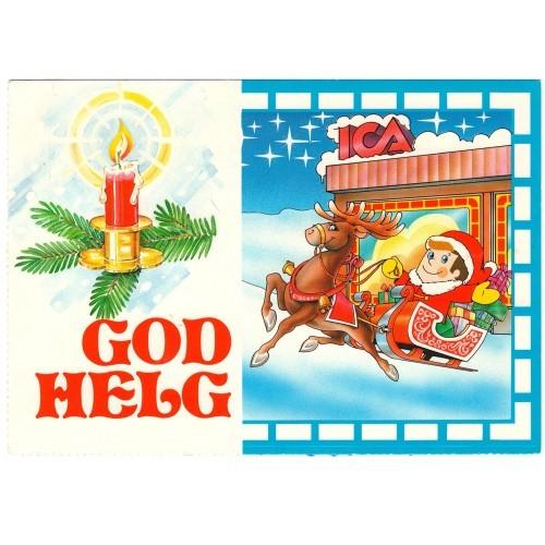SWEDEN - Santa in sledge - presents - rendeer - candle