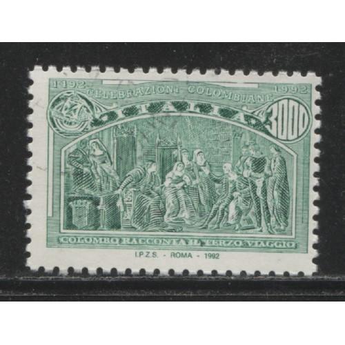 1992 Italy  3000 Lire Italian single from Columbus s/s  used, Scott # 1884 c