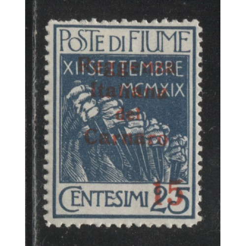 1920 Fiume  15 on 25 c.  Legionnaires  issue  mint*, Scott 110
