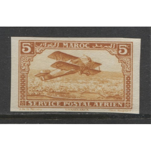 1922  French Morocco  5 c.  AIR MAIL  issue imperf. mint*,  Scott # C1a