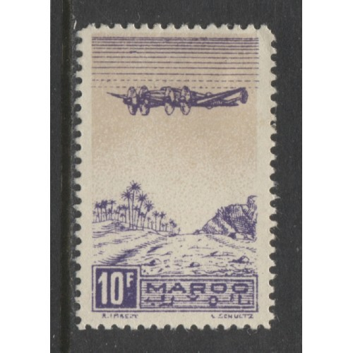 1944  French Morocco  10 Fr.  AIR MAIL  issue  mint*,  Scott # C30