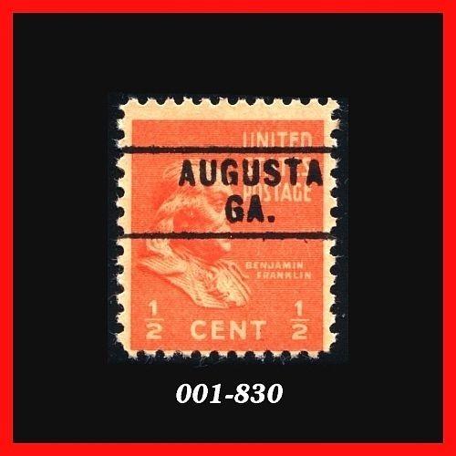 United States 1938 Issue #803 MNH, ½¢ Deep Orange, Precancel: Augusta, GA
