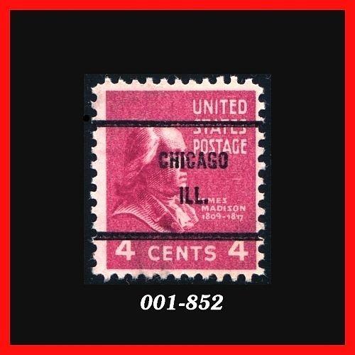 United States 1938 Issue #808, 4¢ Red Violet, Madison, Precancel: Chicago, IL