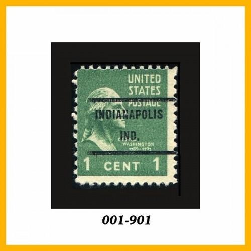 United States 1938 Issue #804 1¢ Green, Precancel: Indianapolis, IN