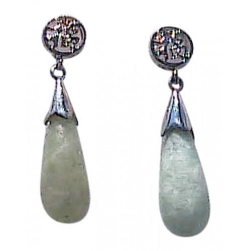 """Vintage Sterling Silver """" Good Luck """" Jadeite Jade Earrings"""