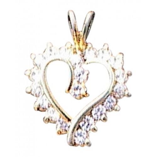 Sterling Silver Heart CZ Pendant (#177)