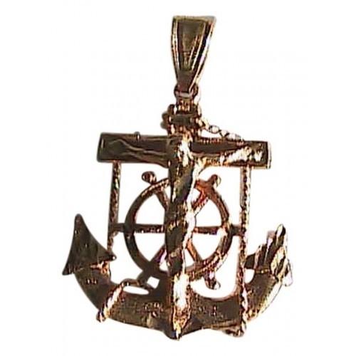 14k Yellow & Rose Gold Diamond Cut Anchor Crucifix Pendant