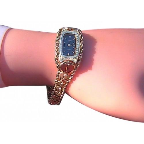 10k Yellow Gold Diamond Cut Heart Bracelet Watch