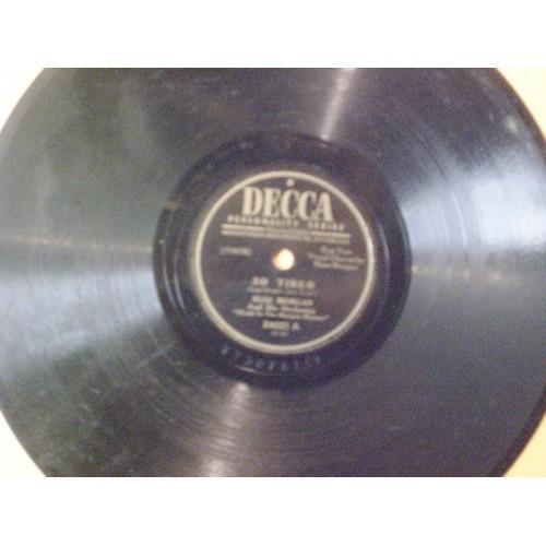 78 RPM: #1980.. RUSS MORGAN - SO TIRED (vocal by RUSS MORGAN) & I HEAR MUSIC (vo