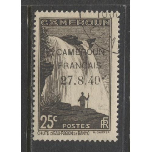 1940  CAMEROUN  25 c. Falls M'bam River with overprint  used, Scott # 261