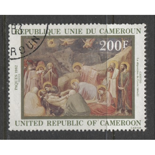 1982  CAMEROUN  200 Fr.  Descent from the Cross, by Giotto  used, Scott # 702