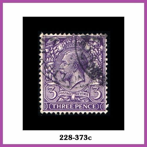 Great Britain, 1912-13 Issue, #164 Used, 3p Bluish Violet, George V, Wmkd. 33