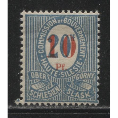 1920 UPPER SILESIA  10 on 20 Pfennig  issue  mint*, Scott # 12 b
