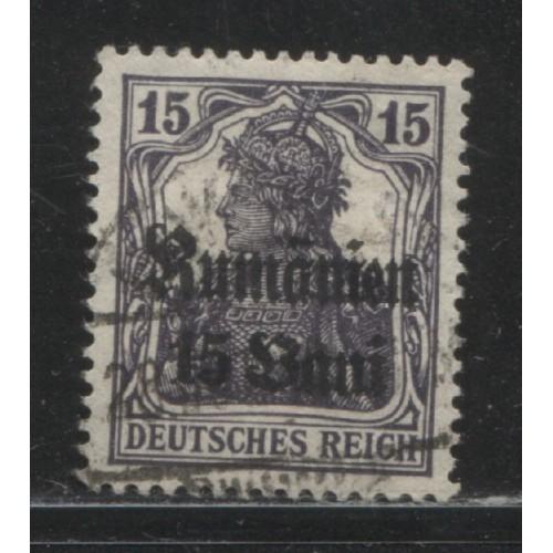 1918  ROMANIA   15 Bani. Germania issue, German occupation used, Scott # 3N10
