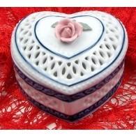 "4"" Woven Porcelain Heart Box"
