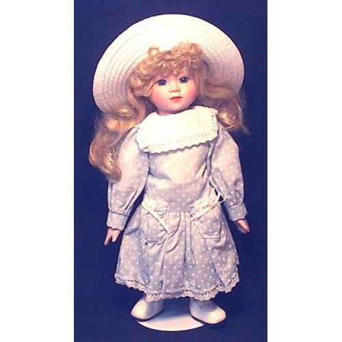 "15""porcelain Delton Blonde Doll - Polkadot Dress - 104A"