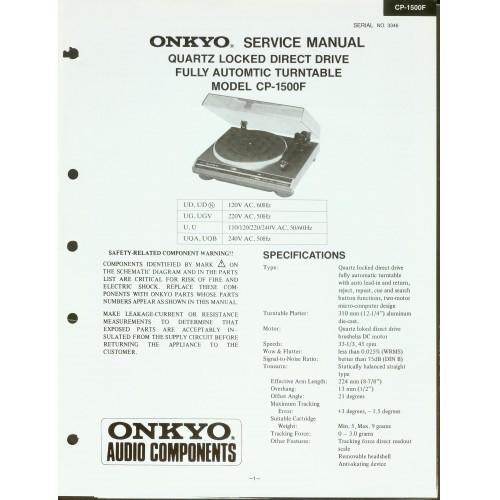 Onkyo - CP-1500F Turntable Service Manual