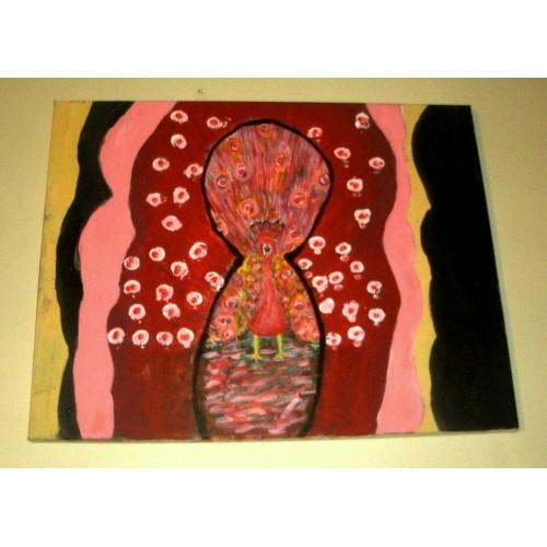 A Keyhole View of a Pink Peacock/Folk Art/Acrylic/Original/New/