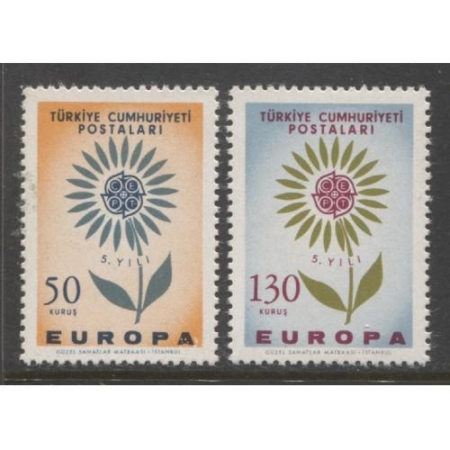 1964  TURKEY  complete set EUROPA issues  mint**, Scott # 1628-1629