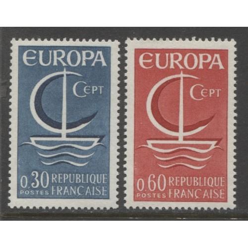 1966 FRANCE  complete set EUROPA issues  mint**, Scott # 1163-1164