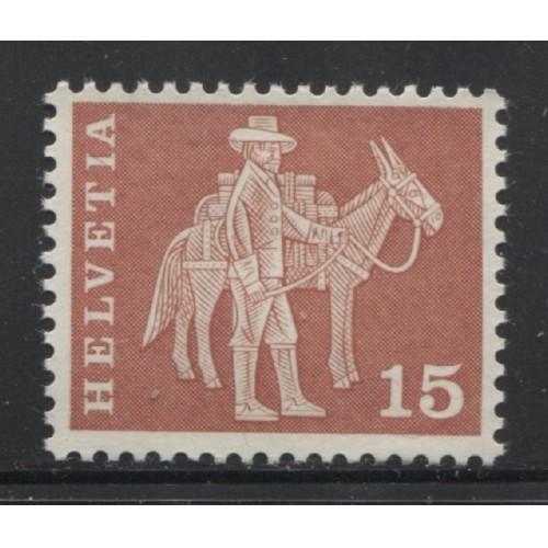 1963  SWITZERLAND  15 c. Messenger & Pack Animal mint*, Scott # 384 a