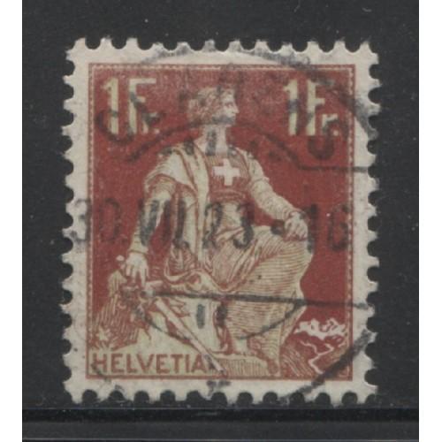 1908  SWITZERLAND   1 Fr. Helvetia  issue  used, Scott # 144