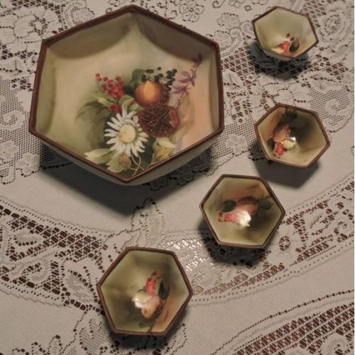 Vintage 5 Piece Hand Painted Nippon Porcelain Footed Nut Set