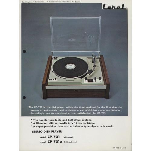 Coral - CP-701/701U Turntable - Sales Brochure -