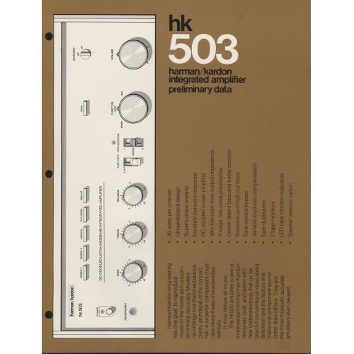Harman-Kardon - 503 Amplifier - Sales Brochure