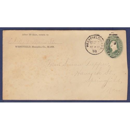 1898 COVER WESTFIELD, MASS. - SPRINGFIELD, MASS. (SCOTT #U311)