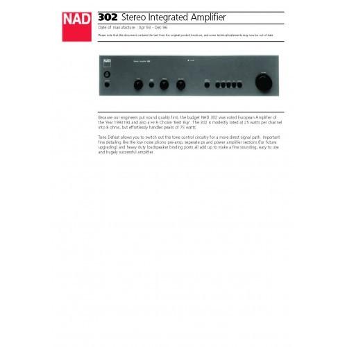 NAD - Model 302 Amplifier - Sales Brochure
