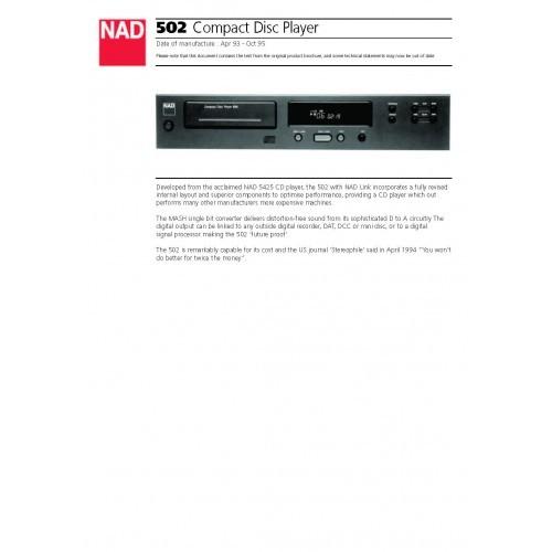 NAD - Model 502 CD Player - Sales Brochure