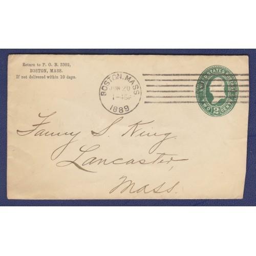 1889 COVER BOSTON, MASS. - LANCASTER, MASS. (SCOTT #U311)
