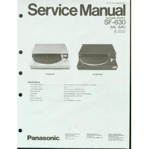Panasonic -  SF-630 Turntable - Service Manual