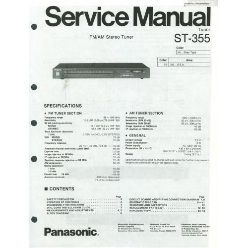 Panasonic -  ST-355 Tuner - Service Manual