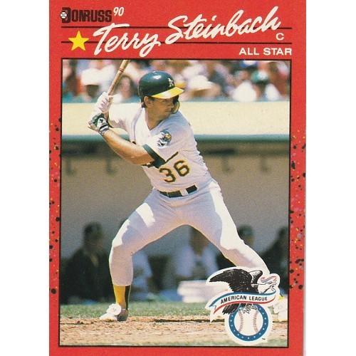 1990 Donruss Terry Steinbach All Star AL Rookie Trading Card No. 637 – VF+