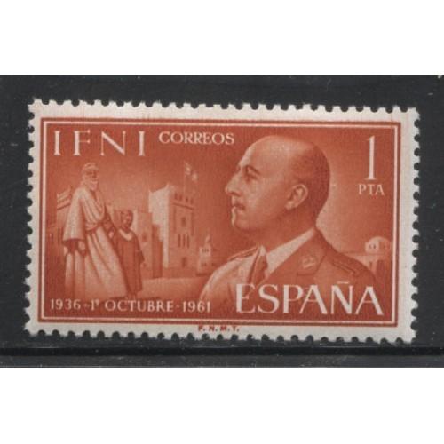 1961 Spanish Colonies IFNI  1 P. General Franco  mint*, Scott # 102