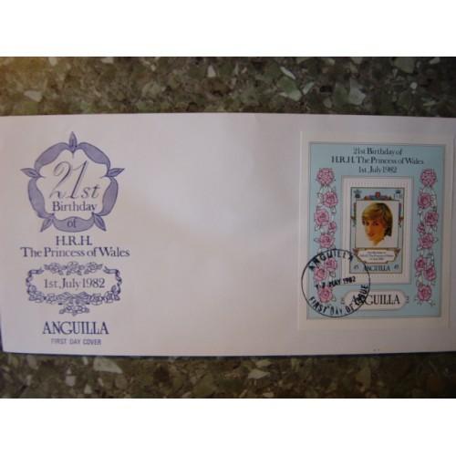 ENGLAND - FDC - 21st birthday PRINCESS DIANA Anguilla 1982-2