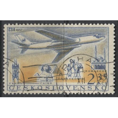 1957 Czechoslovakia  2.35 K.  AIR MAIL issue  used, Scott # C46
