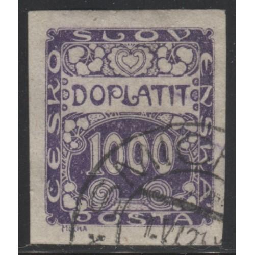 1918 Czechoslovakia  1000 h.  postage due issue  used, Scott # J13