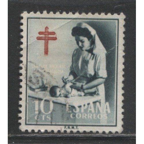 1953 SPAIN  10 c. Postal Tax Stamp  used, Scott # RA35