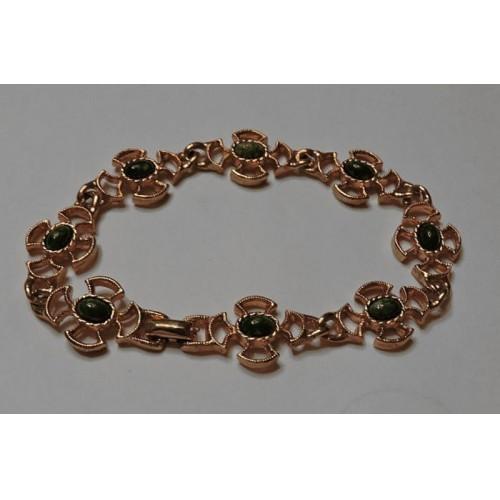 Vintage Avon Green Stone Gold Tone 7 1/2'' Bracelet