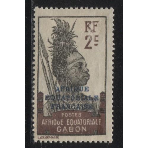 1924  Gabon  2 c.  Fang Warrior issue with overprint   unused,  Scott # 86